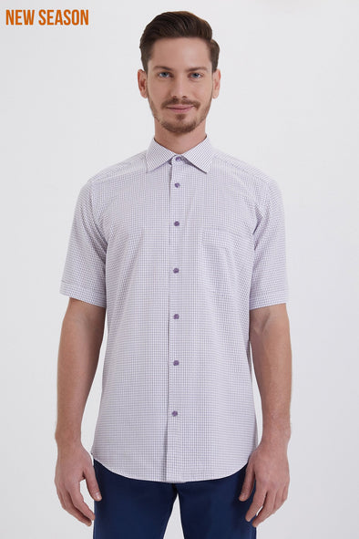 SAYKI Men' Classic Fit Checkered Cotton Shirt