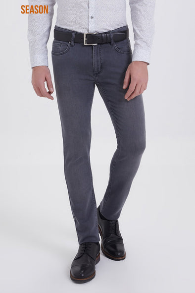 SAYKI Men's Slim Fit Grey Jeans