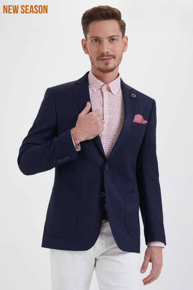 Saykı Men's Slim Fit Birdseye Navy Blazer