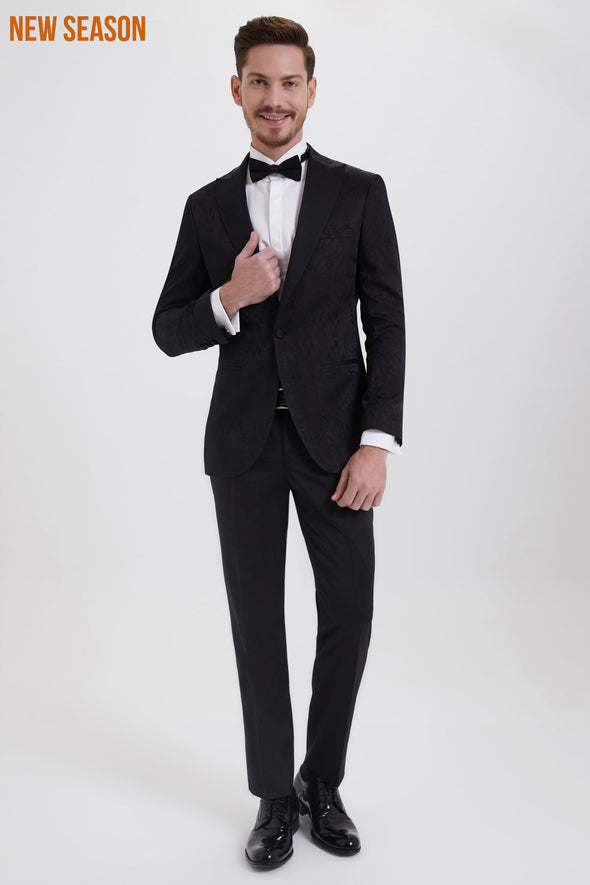 SAYKI Men's Slim Fit Single Breasted Black Patterned Tuxedo