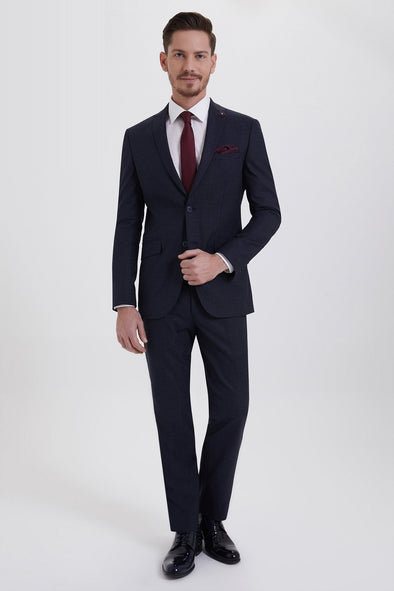 SAYKI Men's Slim Fit Single Breasted Navy Tuxedo