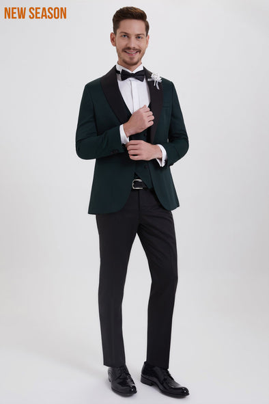SAYKI Men's Slim Fit Single Breasted Green Tuxedo