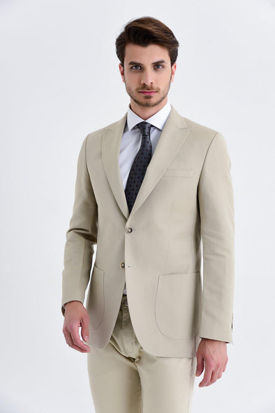 SAYKI Men's Slim Fit Single Breasted Beige Blazer