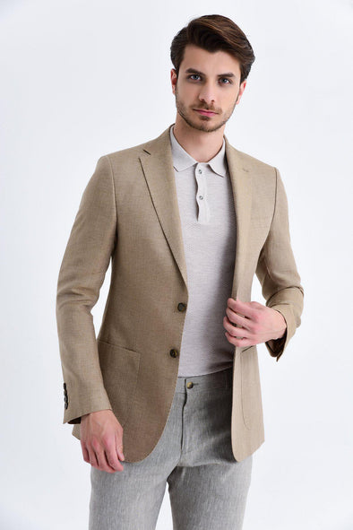 SAYKI Men's Slim Fit Single Breasted Brown Blazer