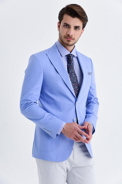 SAYKI Men's Slim Fit Single Breasted Blue Cotton Blazer