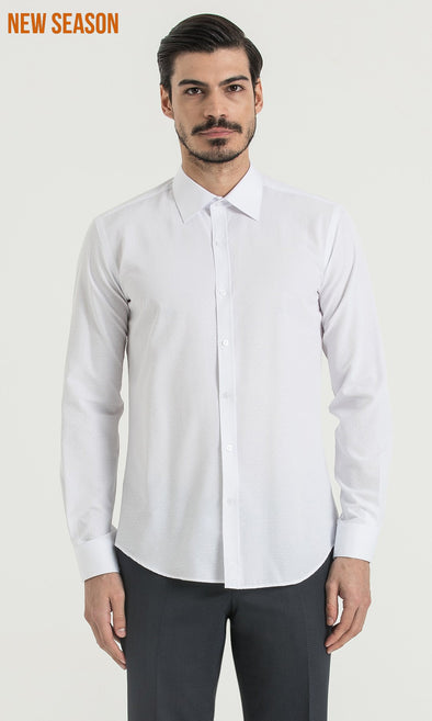 SAYKI Men's Slim Fit White Shirt