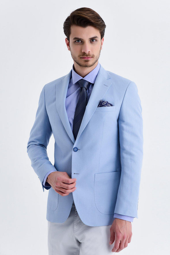 SAYKI Men's Slim Fit Single Breasted Light Blue Blazer