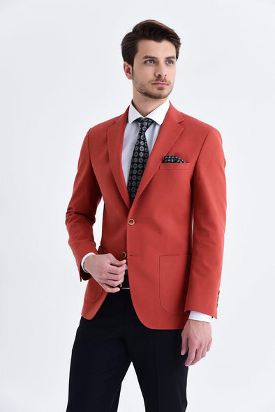 SAYKI Men's Slim Fit Single Breasted Brick Red Blazer