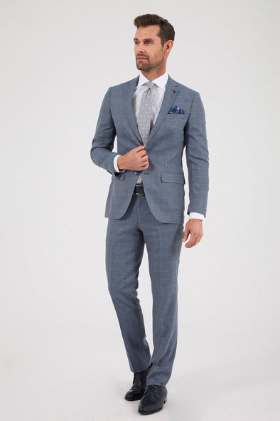 SAYKI Men's Slim Fit Blue Checkered Suit