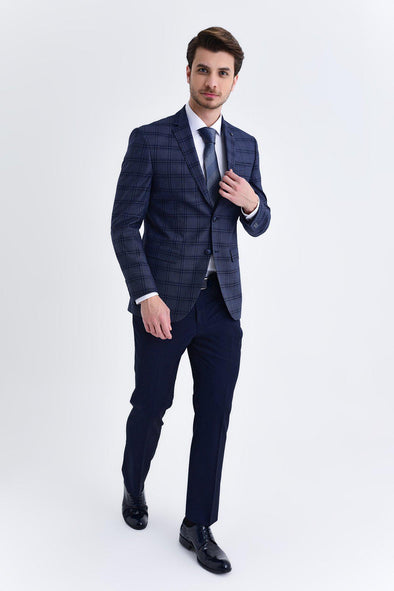 SAYKI Men's Slim Fit Dark Navy Checkered Suit