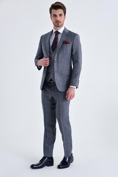 SAYKI Men's Slim Fit Single Breasted Grey Checkered Wool Suit With Giovanni Vest
