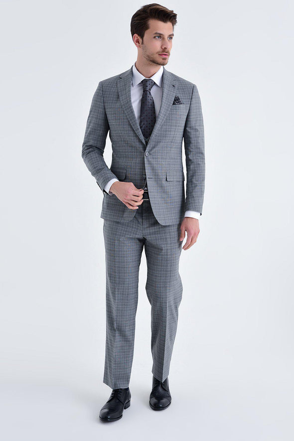 SAYKI Men's Paulo De Oliveira Slim Fit Single Breasted Grey Suit With Lion Vest