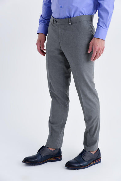 SAYKI Men's Slim Fit Grey Gingham Pants