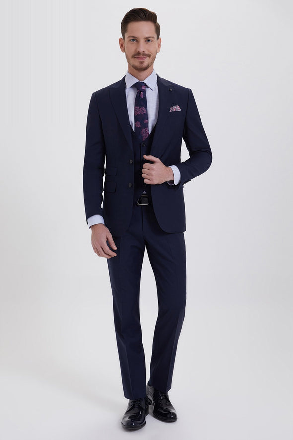 SAYKI Men's Bocelli Slim Fit Single Breasted Navy Suit