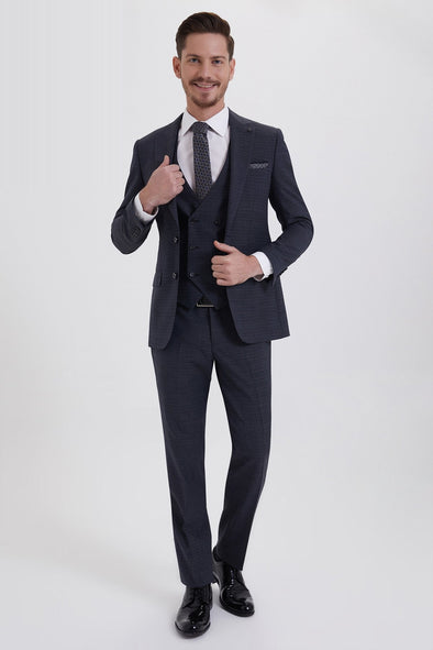 SAYKI Men's Slim Fit Single Breasted Charcoal Suit
