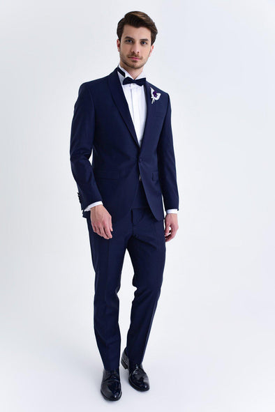 SAYKI Men's Bocelli Slim Fit Single Breasted Navy Tuxedo
