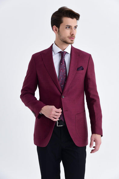 SAYKI Men's Slim Fit Single Breasted Burgundy Blazer