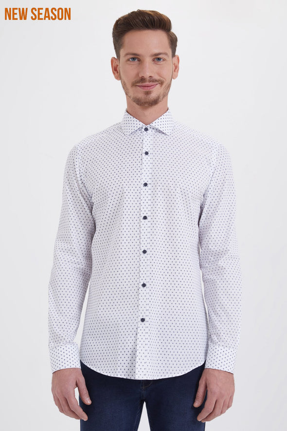 SAYKI Men's Slim Fit Patterned White Cotton Shirt