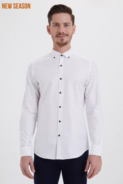 SAYKI Men's Slim Fit White Patterned Cotton Shirt