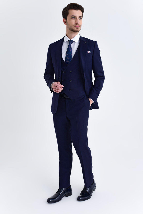 SAYKI Men's Pluto Slim Fit Single Breasted Navy Suit