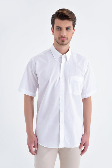 SAYKI Men's Classic Short Sleeve White Cotton Shirt