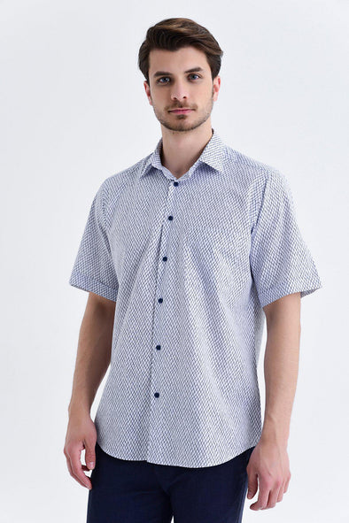 SAYKI Men's Classic Fit Short Sleeve Navy Patterned Cotton Shirt