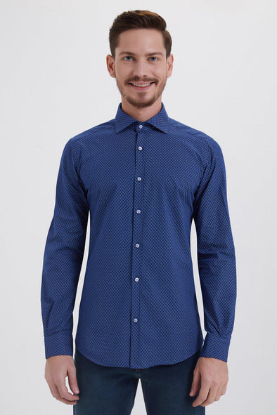 SAYKI Men's Slim Fit Navy Textured Shirt