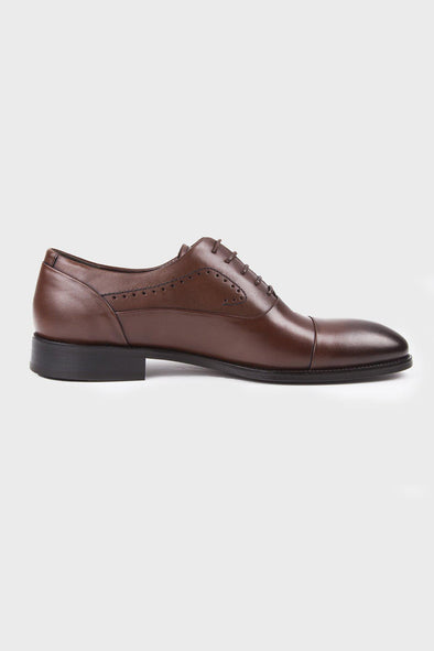 SAYKI Men's Classic Neolith Analin Brown Leather Shoes