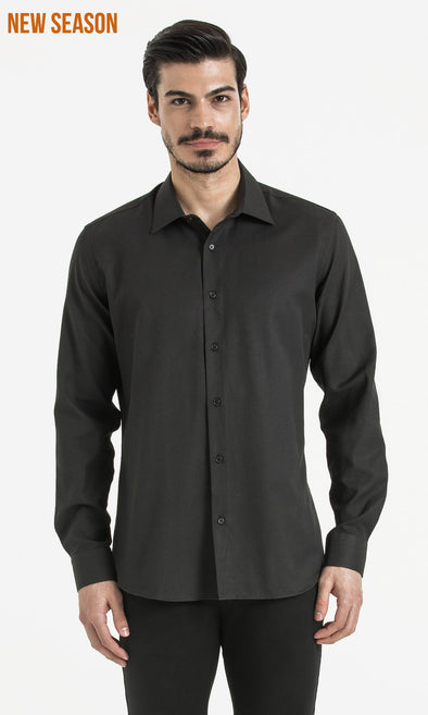 SAYKI Men's Slim Fit Cotton Black Shirt