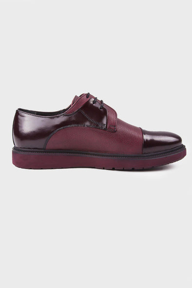 SAYKI Men's Casual Eva Burgundy Leather Shoes