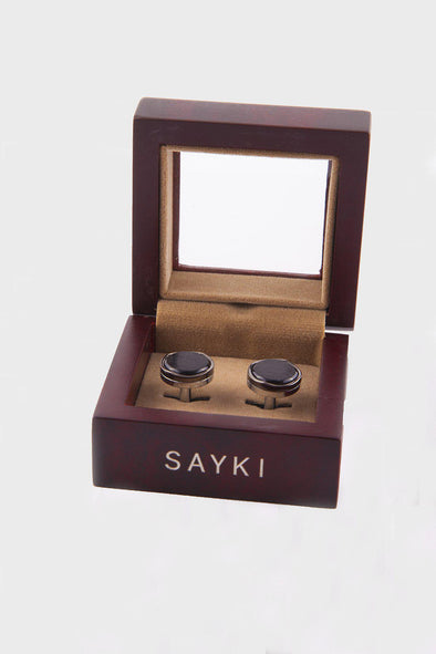 SAYKI Men's Natural Stones Cofflinks