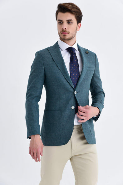 SAYKI Men's Slim Fit Single Breasted Green Wool Blazer