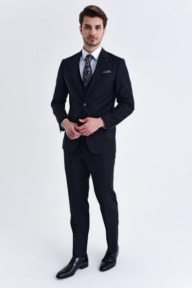 SAYKI Men's Bocelli Slim Fit Single Breasted Black Suit