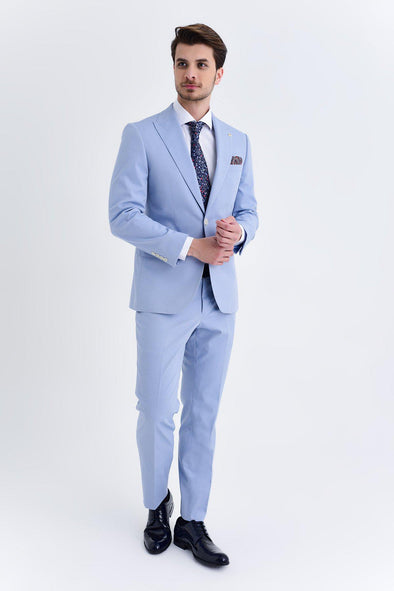 SAYKI Men's Slim Fit Single Breasted Blue Suit