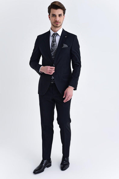 Sayki Men's Bocelli Slim Fit Black Suit