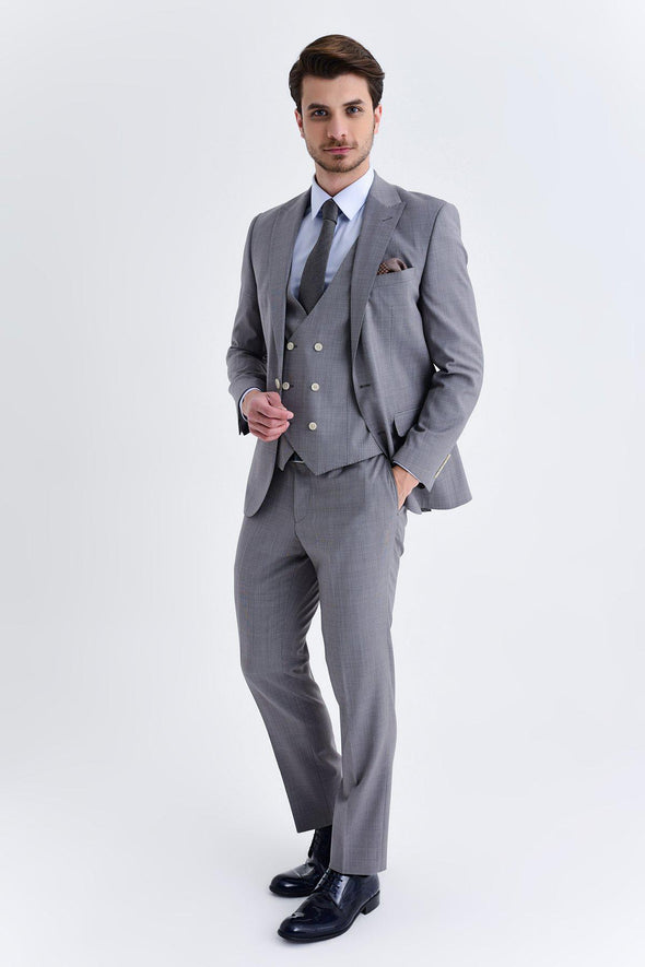 SAYKI Men's Foster Slim Fit Single Breasted Suit With Giovanni Vest