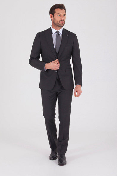 Sayki Men's Slim Fit Giovanni Vest Single Breasted Dark Grey Suit