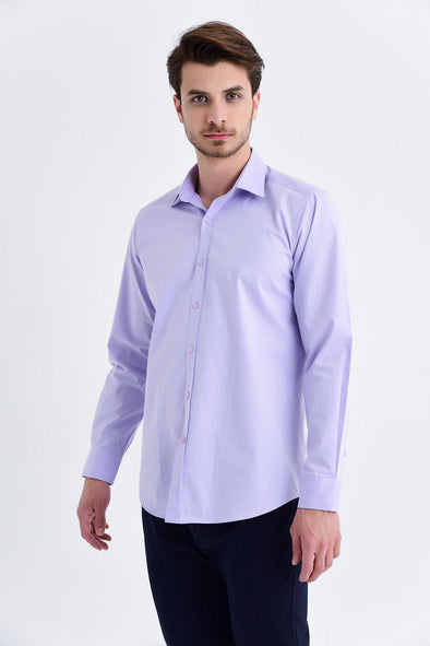 SAYKI Men's Regular Fit Lilac Cotton Shirt