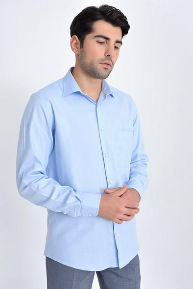 Sayki Men's Classic Fit Ice Blue Shirt