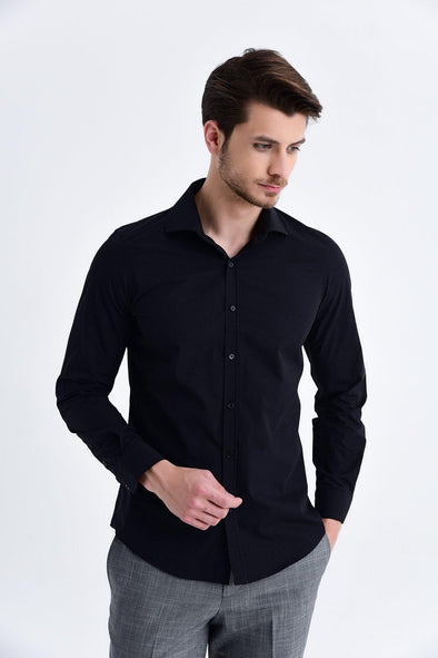 SAYKI Men's Slim Fit Black Shirt