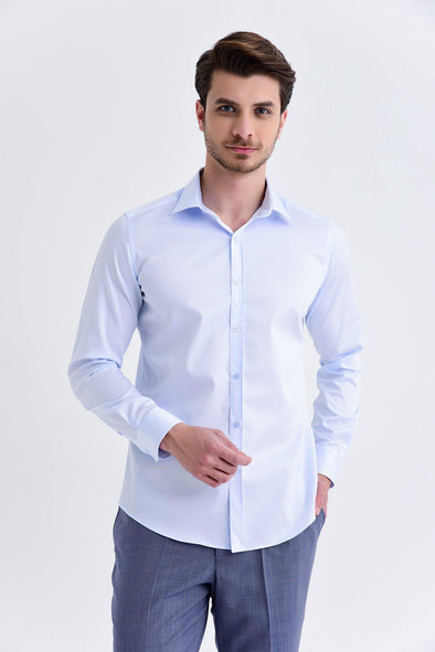 SAYKI Men's Slim Fit Ice Blue Shirt