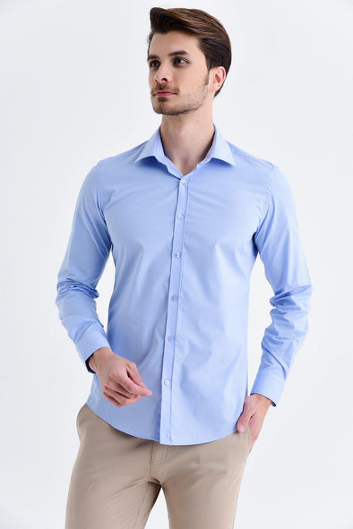 SAYKI Men's Slim Fit Classic Light Blue Shirt
