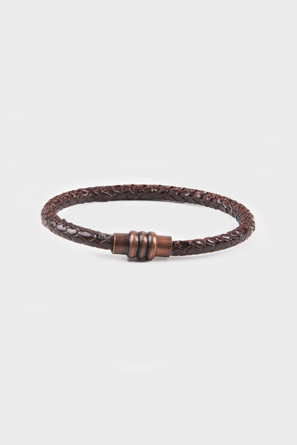 SAYKI Men's Brown Natural Leather Wristband