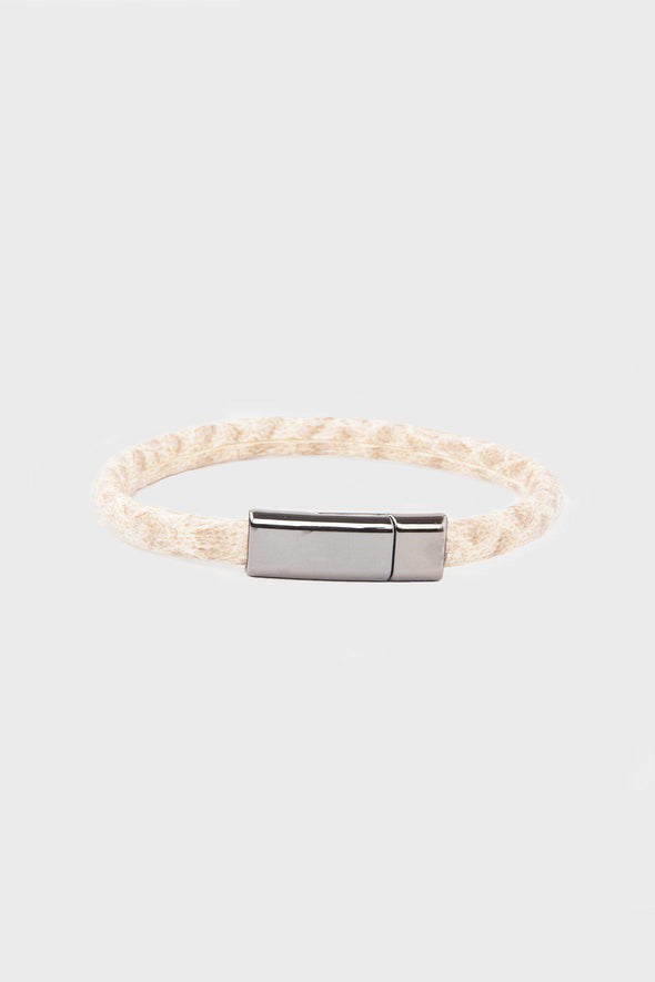Sayki Men's Beige Natural Leather Wristband