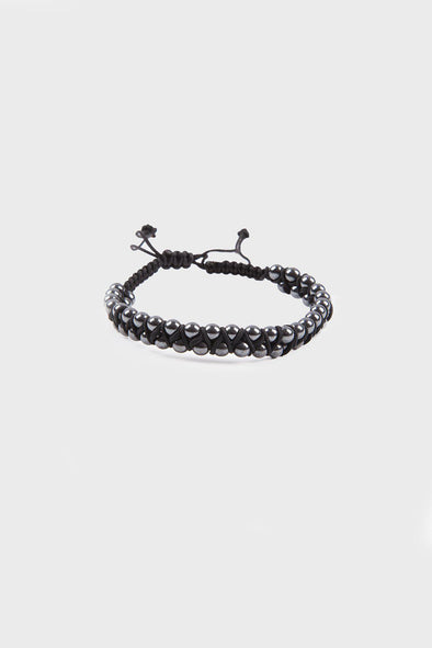 SAYKI Men's Black  Natural Stone Wristband