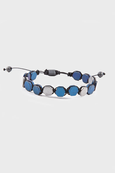 SAYKI Men's Grey-Blue Natural Stone Wristband