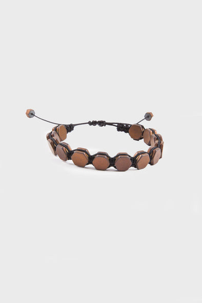 SAYKI Men's Brown Natural Stone Wristband