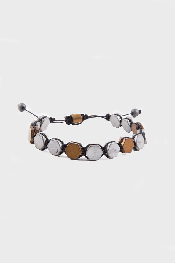 SAYKI Men's Grey-Brown Natural Stone Wristband