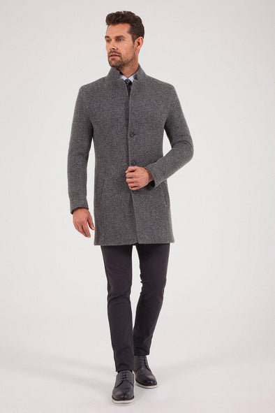 Sayki Men's Felt Dark Grey Overcoat