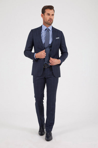 SAYKI Men's Lion West Slim Fit Navy Checkered Wool Suit